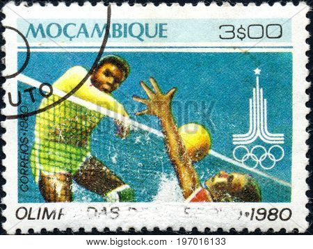 UKRAINE - CIRCA 2017: A postage stamp printed in Mozambique shows Volleyball from series Summer Olympic Games 1980 Moscow circa 1980