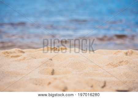 Selective Focus Of Tranquil Empty Sandy Beach At Daytime