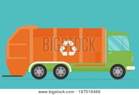 Orange garbage truck transportation icon. Flat vector.