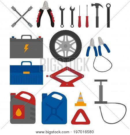 Flat design elements of Car service and diagnostic. Auto mechanic repair of machines. Mechanic Tools and equipment set