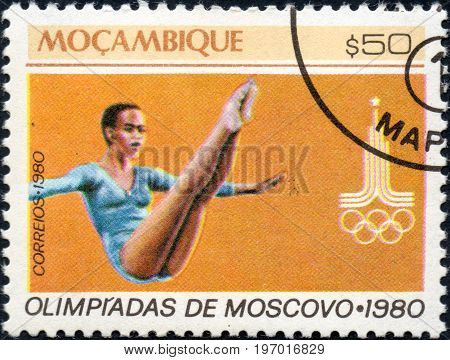 UKRAINE - CIRCA 2017: A postage stamp printed in Mozambique shows Gymnastics from series Summer Olympic Games 1980 Moscow circa 1980