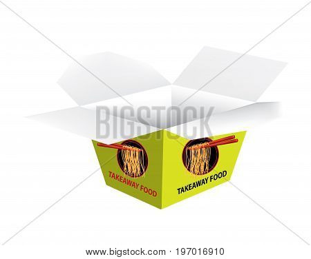 Green takeaway box opened on white background