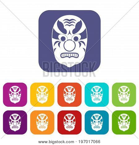 Tribal mask icons set vector illustration in flat style in colors red, blue, green, and other