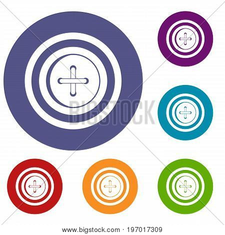 Sewing button with a thread icons set in flat circle red, blue and green color for web