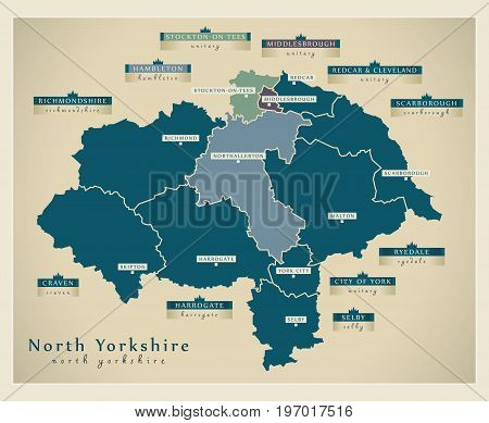 Modern Map - North Yorkshire County With Labels England Uk Illustration