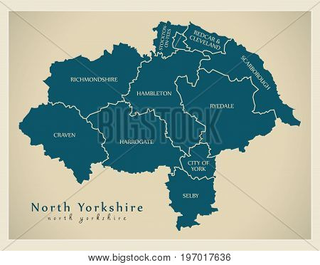 Modern Map - North Yorkshire County With District Captions England Uk Illustration