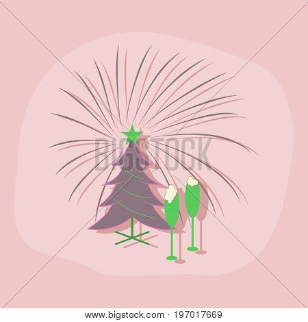 paper sticker on stylish background of Christmas tree champagne