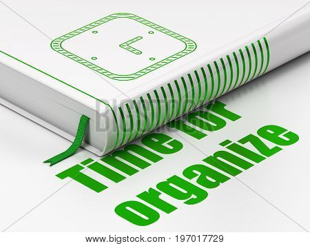 Time concept: closed book with Green Watch icon and text Time For Organize on floor, white background, 3D rendering