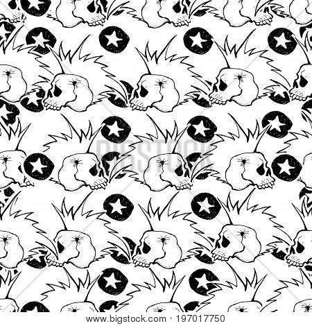 Skulls and bones. Vector cute punk rock abstract background. Hand drawn monochrome seamless pattern. Cartoon style.