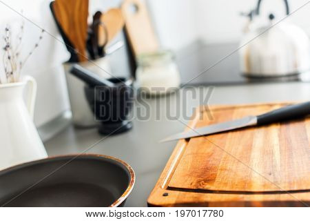 Kitchen Still Life Rustic Dishes Chopping Board