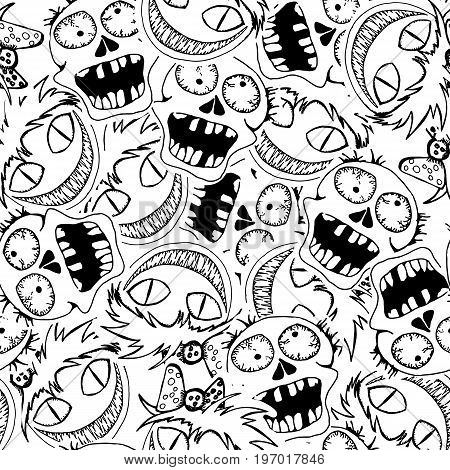Skulls zombie. Vector seamles pattern. Crazy zombie hand drawn background. Can use for party decoration gift wrapp prints home decor.
