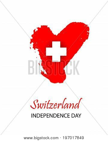 Swiss International Day. Heart in colors of Switzerland flag. Colorful template for National celebration on 1 August.