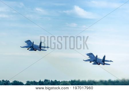 Moscow Region - July 21, 2017: Russian strike fighters Su-30 at the International Aviation and Space Salon (MAKS) in Zhukovsky.