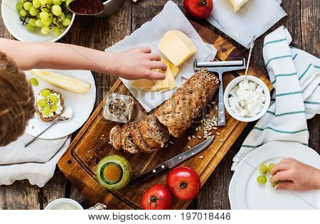 Preparation Snack For Eating On Wooden Table