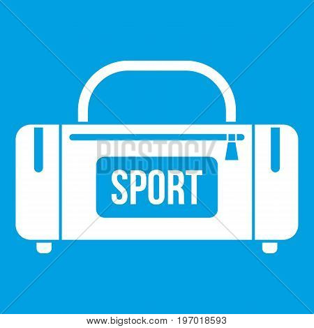 Large sports bag icon white isolated on blue background vector illustration