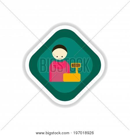 paper sticker on white background cashier business