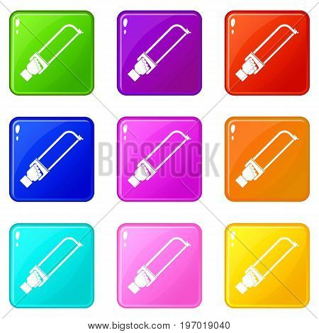 Hand holding spatula tool icons of 9 color set isolated vector illustration
