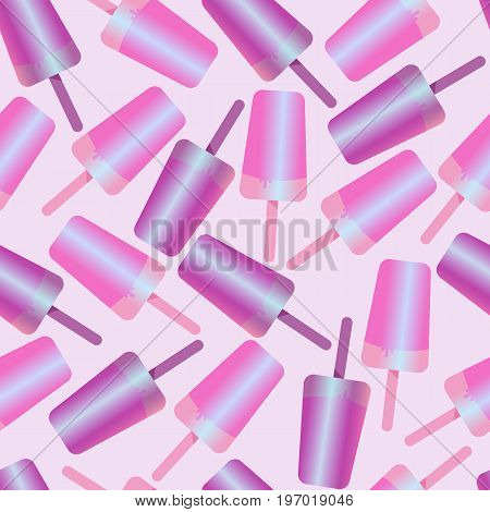 seamless pattern ice cream, ice lolly, pastel colors on white background. Vector