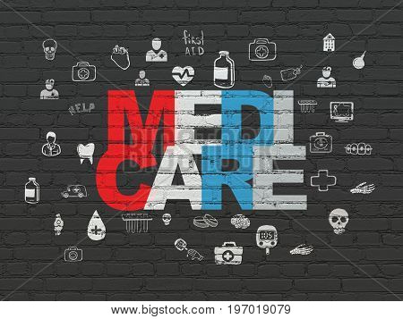 Health concept: Painted multicolor text Medicare on Black Brick wall background with  Hand Drawn Medicine Icons