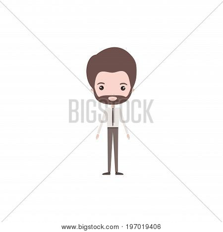 colorful caricature groom man in wedding formal suit with van dyke beard vector illustration