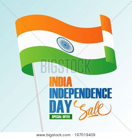 India Independence Day Holiday Sale banner with waving indian national flag. Vector illustration.
