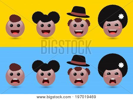 Set of volume brown woman, man, kids emoji. Funny expressing social media icons. Joyful and sad icons of friends with dark hair. Vector illustration of family of cute emoticons on color background