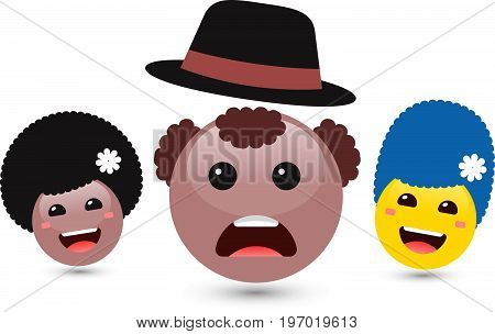 Vector illustration of family of cute smiley emoticons on white background. Set of volume women and brown man emoji with hat. Smile icons of friends with hair, tongue. Funny expressing social smileys
