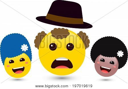 Set of volume smiling women and yellow man emoji with hat. Vector illustration of family of cute smiley emoticons on white background. Smile icons of friends with hair and flower. Funny expressing social smileys