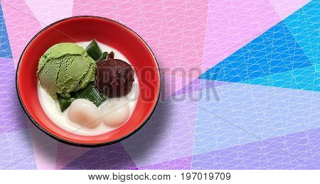 Japanese flavor Green Tea Ice cream with soy milk and mochi dessert on colorful texture background.