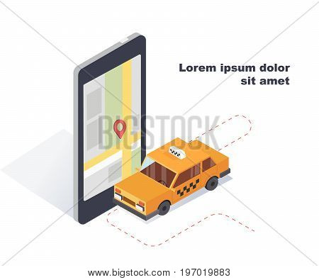 Car taxi.Online mobile taxi order service app concept. Isometric 3D transportation of passengers in the taxi.