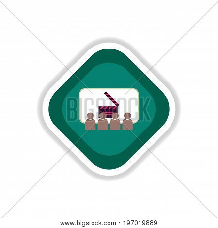 paper sticker on white background People in cinema