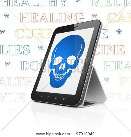 Health concept: Tablet Computer with  blue Scull icon on display,  Tag Cloud background, 3D rendering