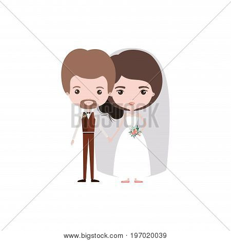 colorful caricature newly married couple in wedding suits vector illustration
