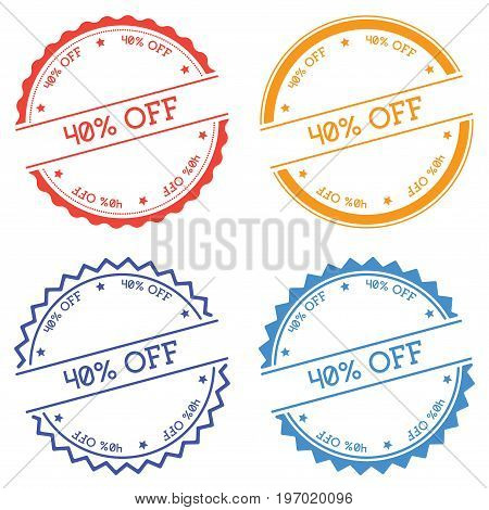 40% Off Badge Isolated On White Background. Flat Style Round Label With Text. Circular Emblem Vector