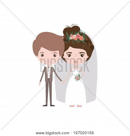 colorful caricature newly married couple groom with formal wear and bride with collected hairstyle vector illustration