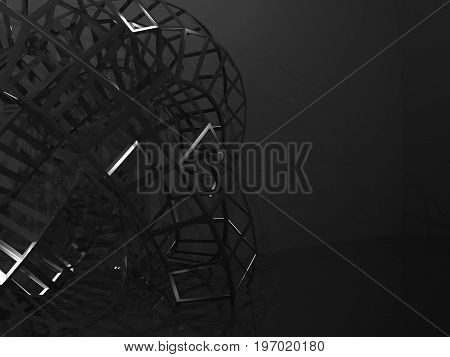 Abstract Black Digital Graphic Background 3 D
