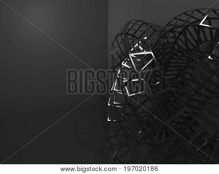 Abstract Black Cg Background 3D Structure