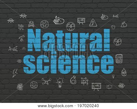 Science concept: Painted blue text Natural Science on Black Brick wall background with  Hand Drawn Science Icons