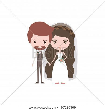 colorful caricature newly married couple groom with formal wear and bride with wavy long hairstyle vector illustration