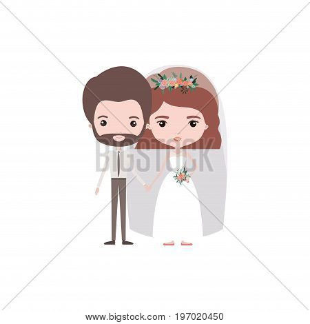 colorful caricature newly married couple groom with formal wear and bride with wavy short hairstyle vector illustration