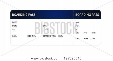 Airplane boarding pass. Blue ticket isolated on white background. Vector illustration