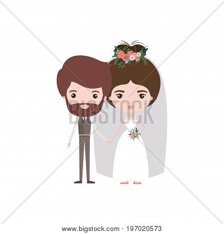 colorful caricature newly married couple bearded groom with formal wear and bride with bun hairstyle vector illustration