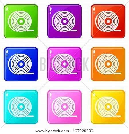 Abs or pla filament coil icons of 9 color set isolated vector illustration