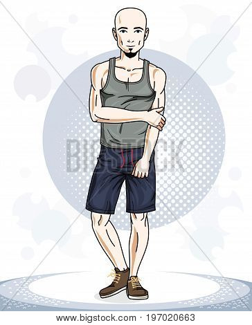 Confident handsome bald young sporty man standing. Vector illustration of male with beard and wearing sport clothes sport style.