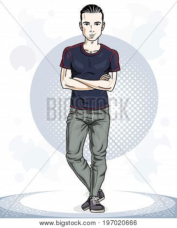 Happy brunet young adult man standing. Vector character wearing sport clothes healthy lifestyle and fitness theme.