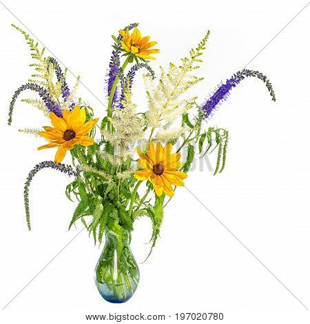 asymmetrical bouquet of summer flowers isolated on white background