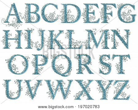 Set of fishnet (lace) alphabet font with capital letters in blue tone.