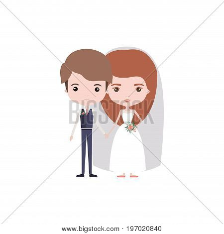colorful caricature newly married couple young groom with formal wear and bride with long hairstyle vector illustration