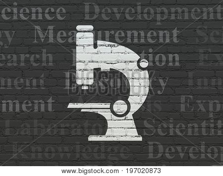 Science concept: Painted white Microscope icon on Black Brick wall background with  Tag Cloud