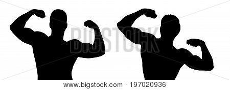 Black silhouette of muscular bodybuilder on white background. Vector illustration.